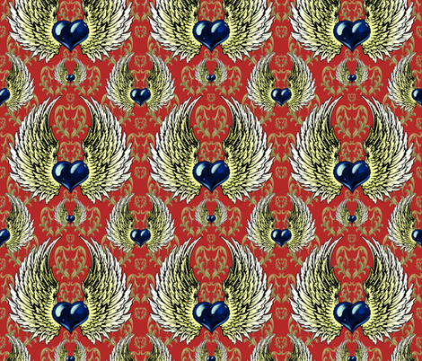 LOVE-RED-china-gold fabric by i-jessicajordan on Spoonflower - custom fabric