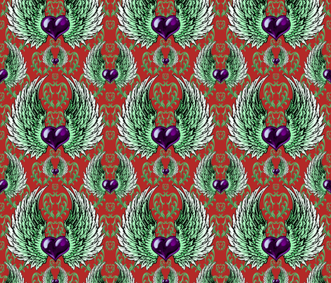 LOVE-RED-china-purple fabric by iesza-jessica on Spoonflower - custom fabric
