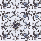 Floral Tiles in Blue and White
