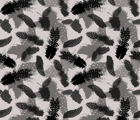 Ghostly Feathers fabric by happy_adventuress on Spoonflower - custom fabric