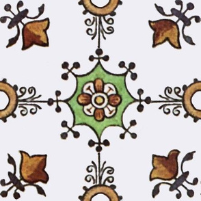 Floral Tile on White