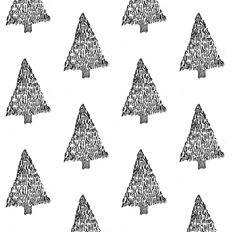 black & white Christmas tree fabric by annemclean on Spoonflower - custom fabric