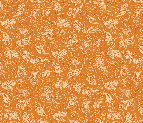 Paisley Ghosts - Orange fabric by girlfighter on Spoonflower - custom fabric