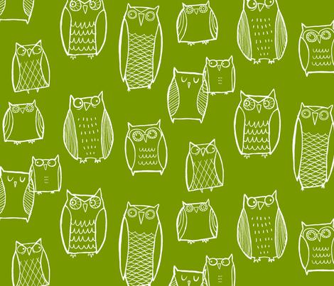 Night Owl green fabric by leanne on Spoonflower - custom fabric