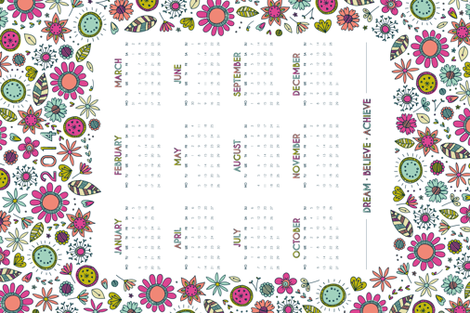2014 Floral Dreams Calendar fabric by rosiesimons on Spoonflower - custom fabric
