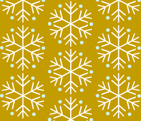 Snowflakes Mustard fabric by natitys on Spoonflower - custom fabric