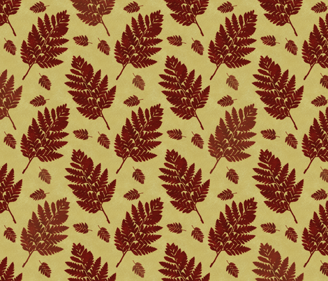 woodland fern rust fabric by treehousedesignstudio on Spoonflower - custom fabric