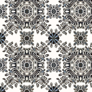 Blue and White Ornate Floral Tile