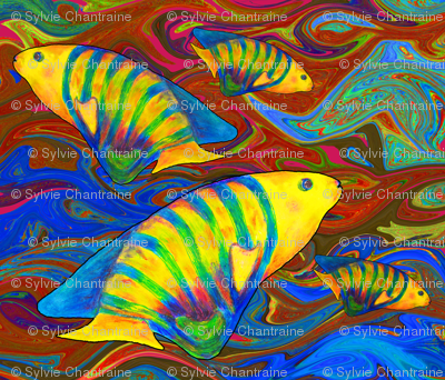 FISHES WAVES GOLD BROWN