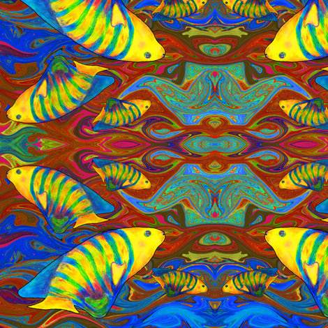 FISHES WAVES GOLD BROWN fabric by paysmage on Spoonflower - custom fabric