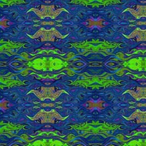 FISHES WAVES BLUE Geometric