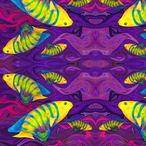 FISHES WAVES PURPLE