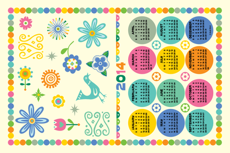 A Happy Year Calendar 2014 fabric by andibird on Spoonflower - custom fabric