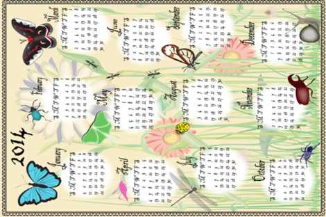 calendarbugs2014 fabric by lerhyan on Spoonflower - custom fabric