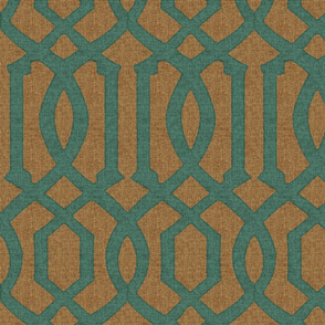 Victoria Trellis in Turquoise on Linen