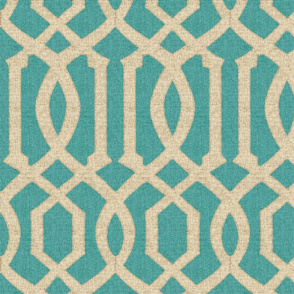 Victoria Trellis in Linen on Turquoise