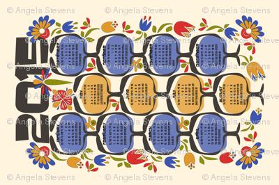 2015 Retro Calendar Tea Towel