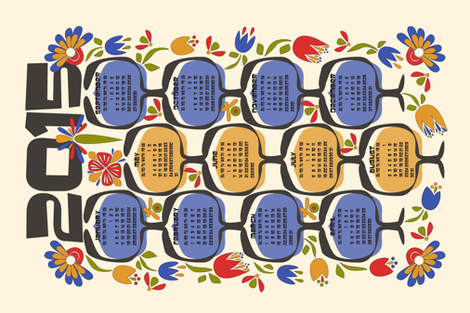 2015 Retro Calendar Tea Towel fabric by mag-o on Spoonflower - custom fabric