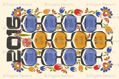 2016 Retro Calendar Tea Towel