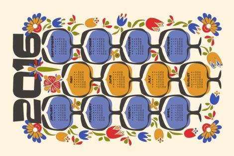 2016 Retro Calendar Tea Towel fabric by mag-o on Spoonflower - custom fabric