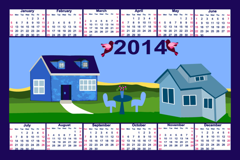 my house to yours 2014_TEA_TOWEL_CALENDER fabric by anino on Spoonflower - custom fabric