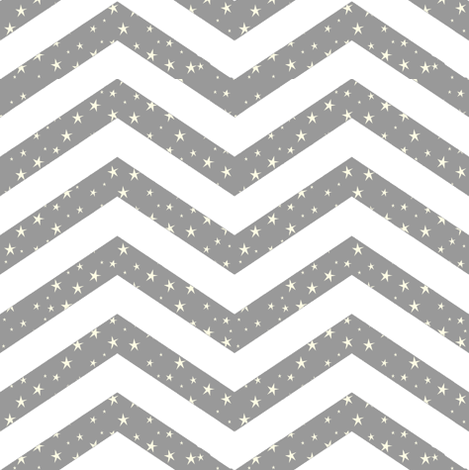Chevron Stars, Grey and White