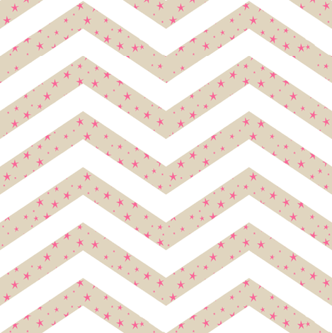 Cappuccino and White Chevron with Pink Stars