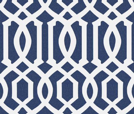 Victoria Trellis in Navy Linen fabric by willowlanetextiles on Spoonflower - custom fabric