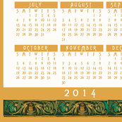 2014_calendar_Gold_Turquoise_Filligree