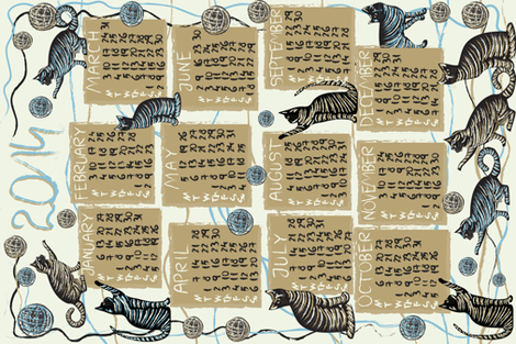 cat lover's calendar 2014 fabric by kociara on Spoonflower - custom fabric