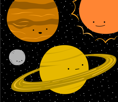 Solar System Set - Large Decals fabric by wildolive on Spoonflower - custom fabric