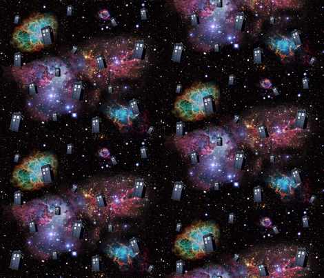 TARDIS_in_space fabric by amyknight on Spoonflower - custom fabric