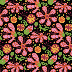 Wild Pink Blooms_onBlack