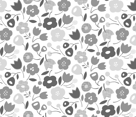 Flower Show (gray) fabric by leanne on Spoonflower - custom fabric