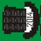2014 8-bit Hipster Green Teatowel Calendar