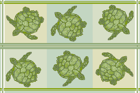 Sea Turtle Kitchen Towel Design fabric by luv2silkpaint on Spoonflower - custom fabric