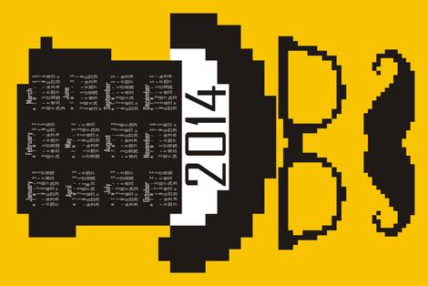 2014 8-bit Hipster Yellow Teatowel Calendar fabric by smuk on Spoonflower - custom fabric