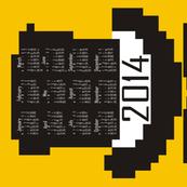 2014 8-bit Hipster Yellow Teatowel Calendar