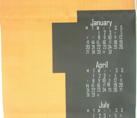 2014 8-bit Hipster Orange Teatowel Calendar
