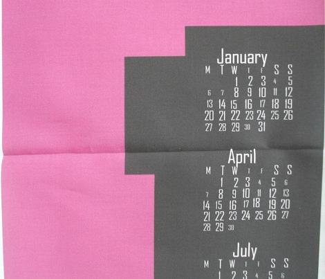 2014 8-bit Hipster Pink Teatowel Calendar