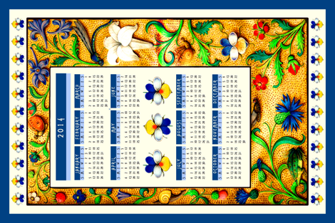 Book of Hours Floral Calendar 2014 fabric by spontaneouscombustion on Spoonflower - custom fabric