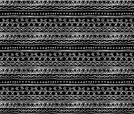Chalk Tribal Stripe (black) fabric by leanne on Spoonflower - custom fabric