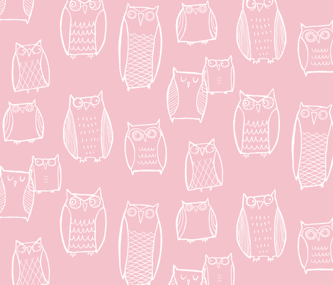 Night Owl (pink) fabric by leanne on Spoonflower - custom fabric