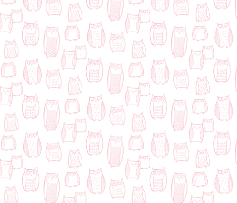 Little Night Owl white/Pink fabric by leanne on Spoonflower - custom fabric