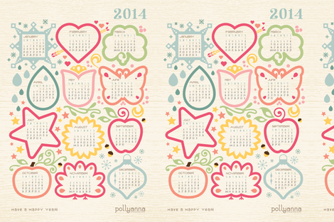 2014 Calendar fabric by pollyannahandmade on Spoonflower - custom fabric