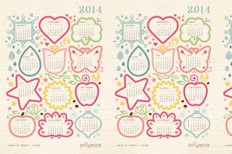 2014 Calendar fabric by pollyannahandmade on Spoonflower - custom fabric