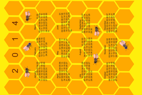 Honeycomb with bees calendar fabric by ruthjohanna on Spoonflower - custom fabric