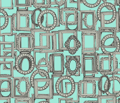picture frames aplenty bone mint fabric by scrummy on Spoonflower - custom fabric