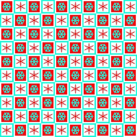 turquoise red snowflake block