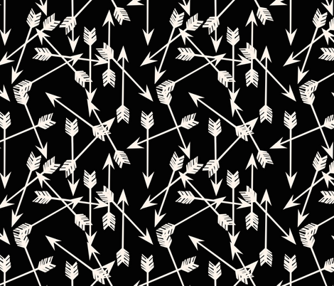 Arrows Scattered - Black/Champagne by Andrea Lauren fabric by andrea_lauren on Spoonflower - custom fabric
